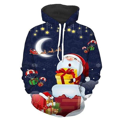 zarupeng Christmas Sudaderas,Sudaderas Divertidas para Hombre para Mujer Unisex Ugly Sweater 3D imprimió Xmas Graphic Jersey Santa: Amazon.es: Zapatos y ...