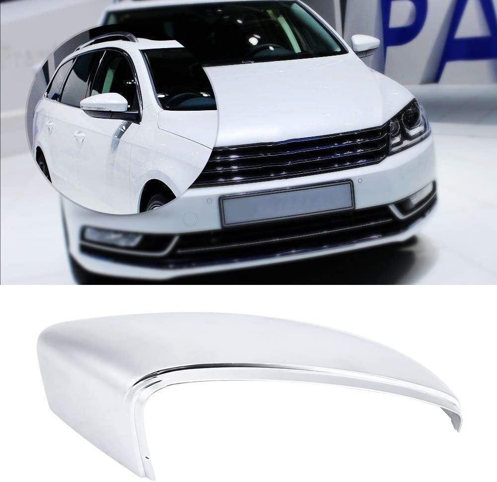 Pair of Matt Chrome Rear View Mirror Cover Cap for Passat B7 CC Jetta Scirocco Beetle