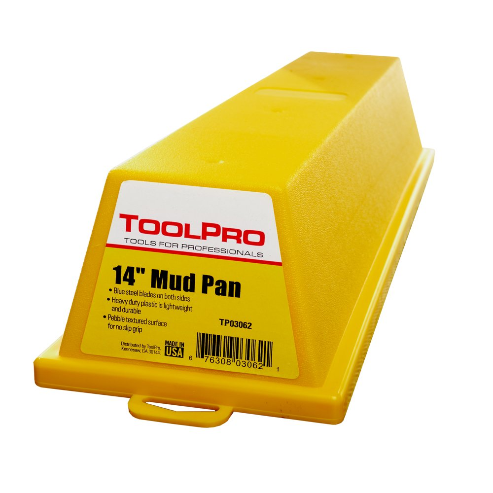 ToolPro 14 in. Plastic Mud Pan with Steel Wiping Blades by ToolPro