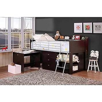 espresso bedroom furniture. Loft Bed with Desk and Storage Espresso Twin Size Boys Teens Bedroom  Furniture Amazon com