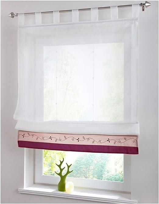 Grau, 80x120cm KOU-DECO Tunnelzug Raffgardine Blumen Stickerei Raffrollo Voile Transparente Wei/ße Vorhang mit Stangen 1 St/ück