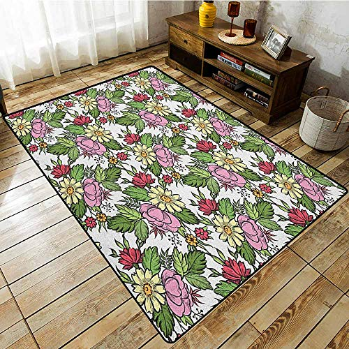 Collection Area Rug,Floral,Pastel Toned Lily Dahlia Frangipani Bouquet Essence of Nature Pattern,Large Area mat Baby Pink Fern Green