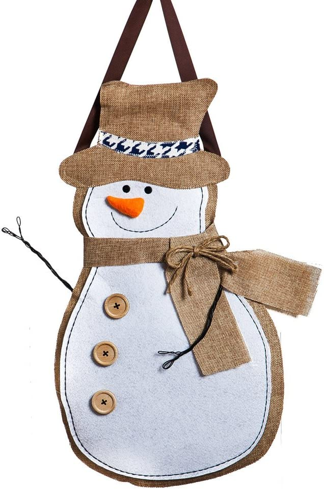 "Evergreen Flag Winter Snowman Hanging Outdoor-Safe Burlap Door Décor - 13.75""W x 20.75""H"