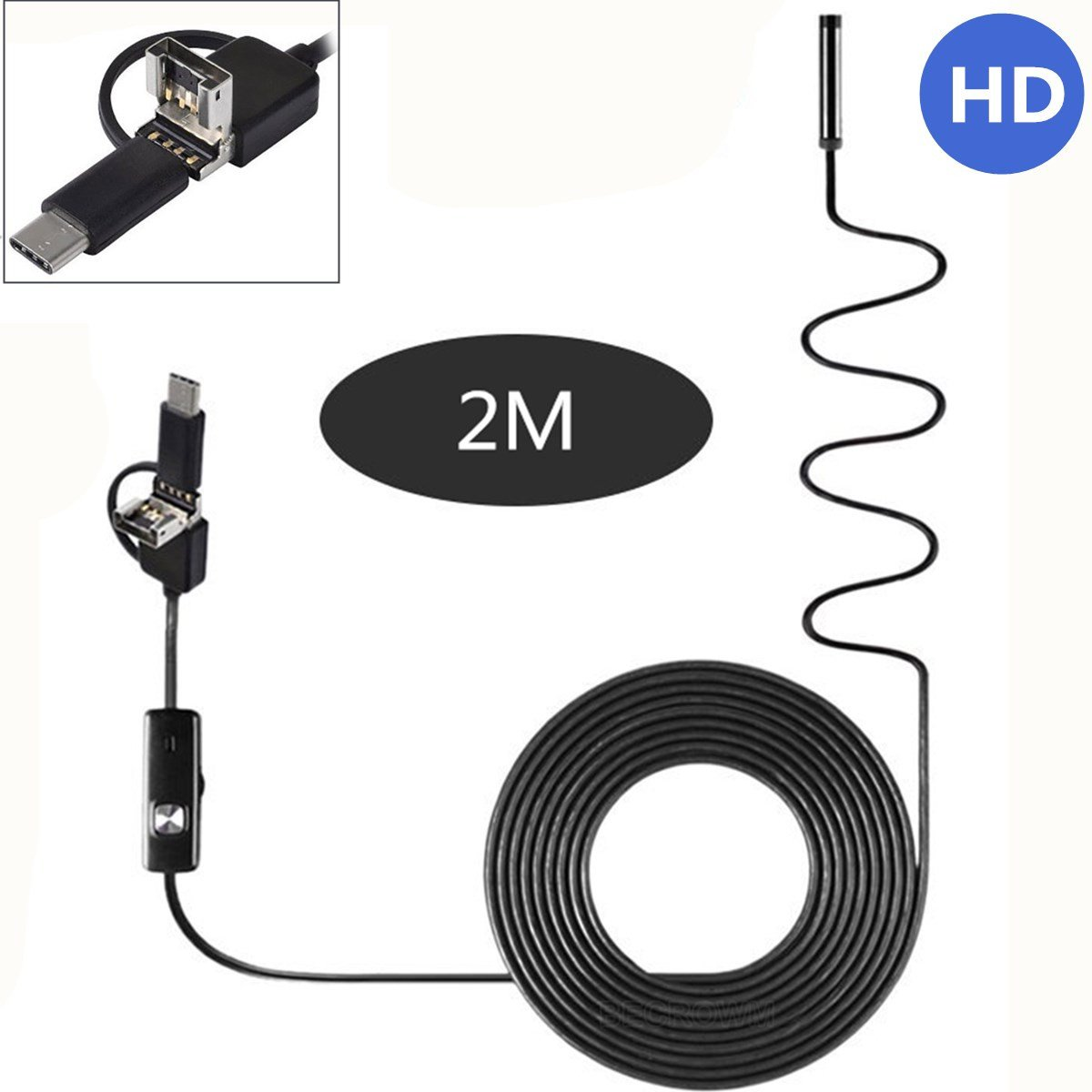 Becrowmeu tipo C/USB/Micro USB Periscopio dell' endoscopio per Android 1200P HD camera IP67 impermeabile con micro USB adattatore BECROWM EU Camera-YS0104