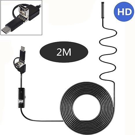 1 m OTOTEC endoscopio de la Industria USB con 6 LED de 5,5 mm boroscopio 1 m//2 m//5 m para Android y PC Tipo C//USB//Micro USB endoscopio Impermeable