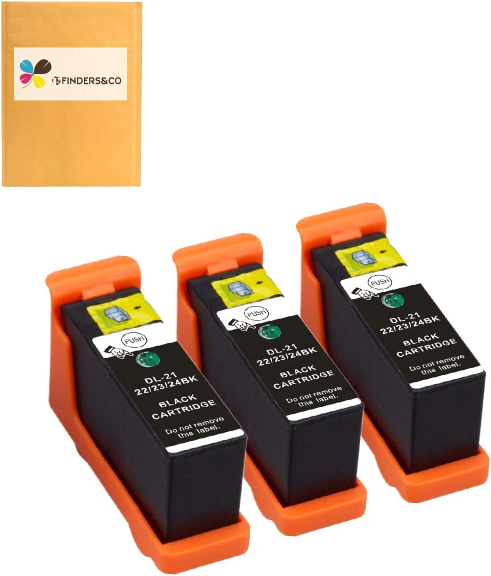 Compatible Dell Series 21 Black Ink Cartridges Replacement for DELL V313 V313W V515W P513W P713W V715W Printer, 3Pack Dell 21 22 23 24 Black Ink Cartridge