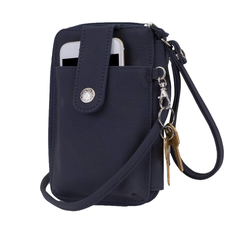 Mundi Jacqui Vegan Leather RFID Womens Crossbody Cell Phone Purse Holder Wallet (Navy)