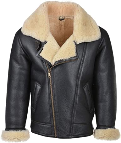 Hand Made Bomber Aviator Sheep Skin Faux Fur Black Real Leather Jacket