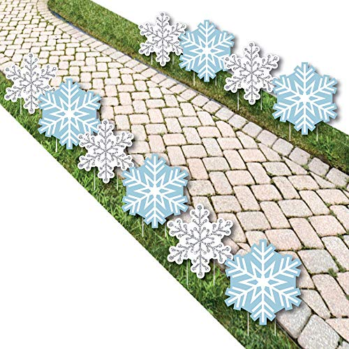 Winter Wonderland - Snowflake Lawn Decorations - Outdoor Snowflake Holiday Party & Winter Wedding Yard Decorations - 10 Piece -