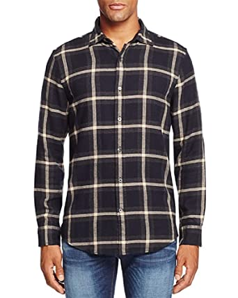 Bloomingdales New $98 Black Gray Taupe Plaid Flannel Button Down Shirt Size M