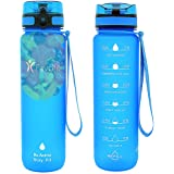 Favofit Motivational Sports Water Bottle with Time Marker, 32 oz / 1 Liter, with Fruit Strainer and Cleaning Brush, BPA-Free Tritan Plastic, 1 Click Open with Lock