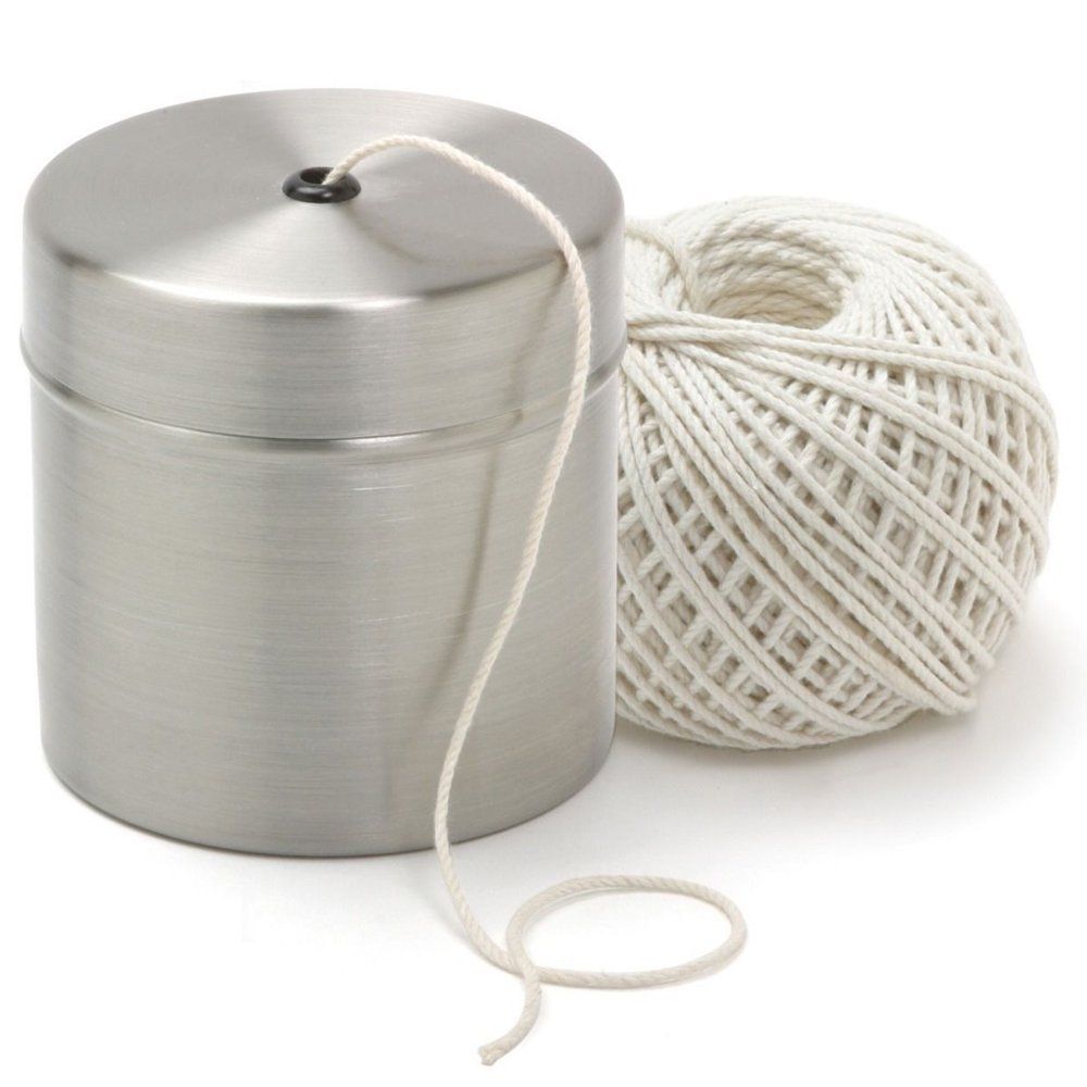 Simply Silver - Twine String - Norpro Cotton Butchers Meat Trussing Twine String W/Stainless Steel Holder New