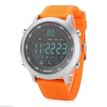 OOLIFENG Inteligente Deporte Reloj Hombres 5ATM Impermeable Bluetooth 4.0 Recordatorio de Llamada Relojes Luminosos, Orange: Amazon.es: Deportes y aire ...