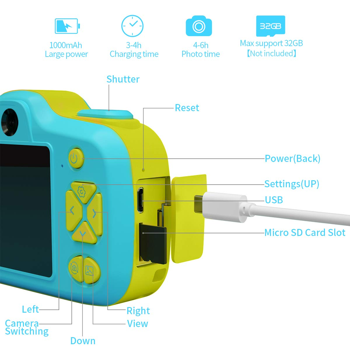 Joytrip Kids Camera Gifts,Front and Rear Selfie Children Camcorder,2.3 Inches Screen,for Boys,Blue by Joytrip (Image #7)