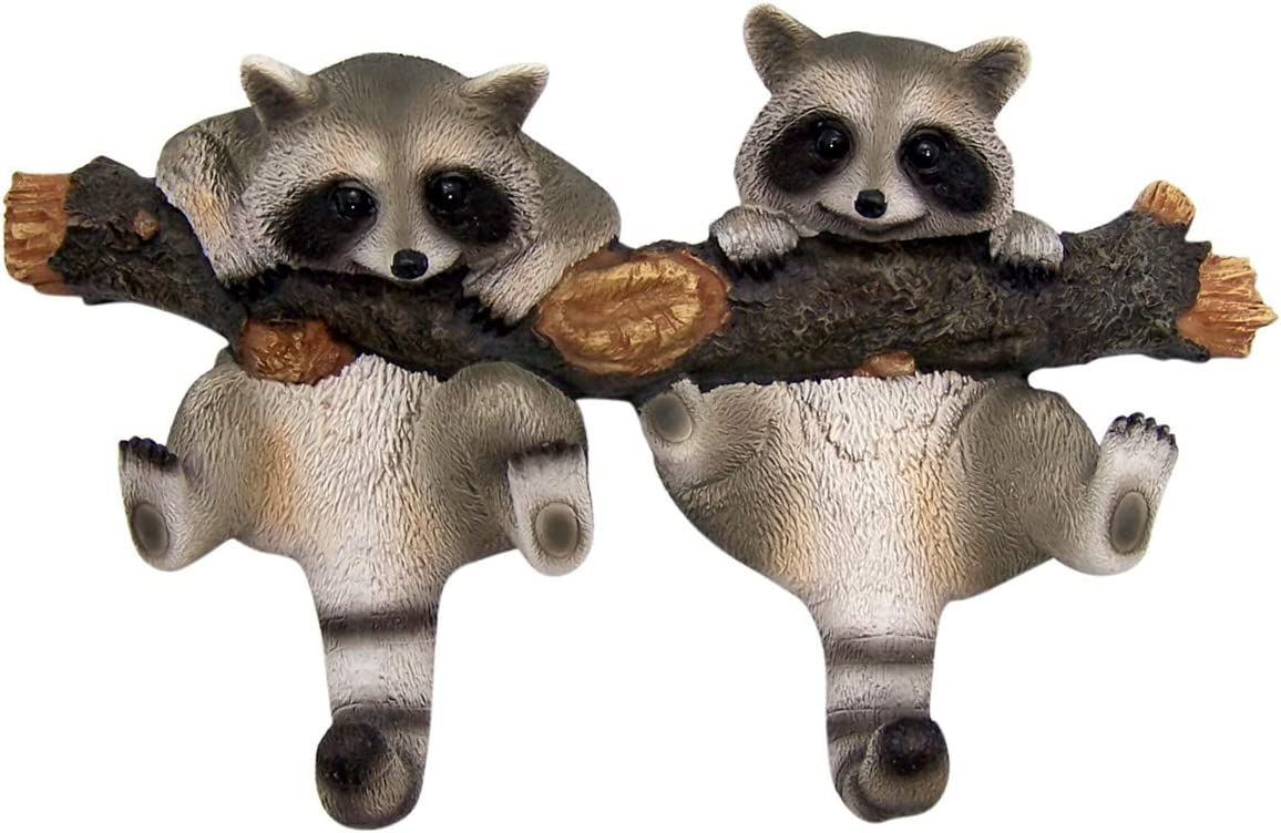 Wowser Rustic Cast Resin Log Cabin Decor Hanging Raccoon Wall Hooks, 9 Inch