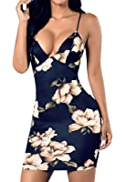 Dellytop Women's Strappy Floral Midi Bodycon Club Pencil Dress
