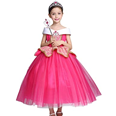 d8e19eed87324 Girls Princess Aurora Costume Fancy Dress up Cosplay Party Outfit Halloween  Christmas Birthday Ceremony Floor Length Tulle Dresses Carnival Long Prom  ...