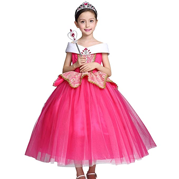 c72c0726ace00 Girls Princess Aurora Costume Butterflies Fancy Dress up Cosplay Party  Outfit Halloween Christmas Birthday Ceremony Floor Length Tulle Dresses  Carnival Long ...