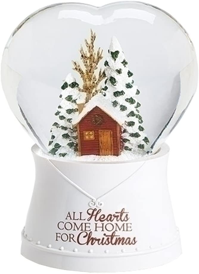 """Roman 120MM Musical Heart with House """"All Hearts Come Home for Christmas"""" Glitterdome Water Globe Plays Tune """"I'll Be Home for Christmas"""""""