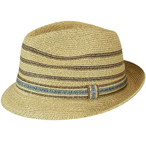 Hollywood Stripe - Bailey of Hollywood Men's Lichter Braided Stripe Fedora Hat, Natural, L