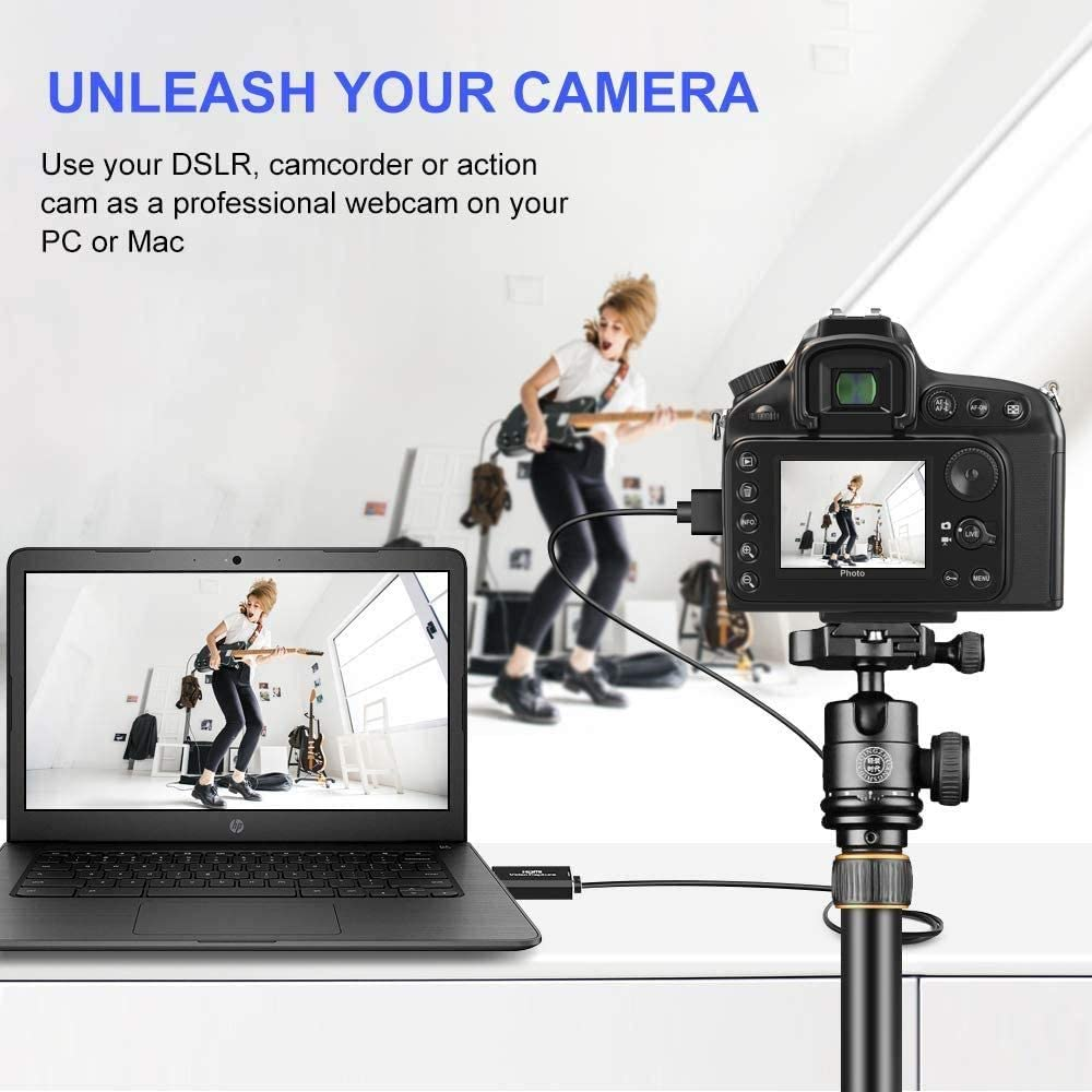Teaching Hengyuanyi Video Capture Card HDMI to USB 2.0 Live Streaming HD 1080P 30fps Audio Record via DSLR Camcorder Action Cam for Gaming Video Conference or Live Broadcasting