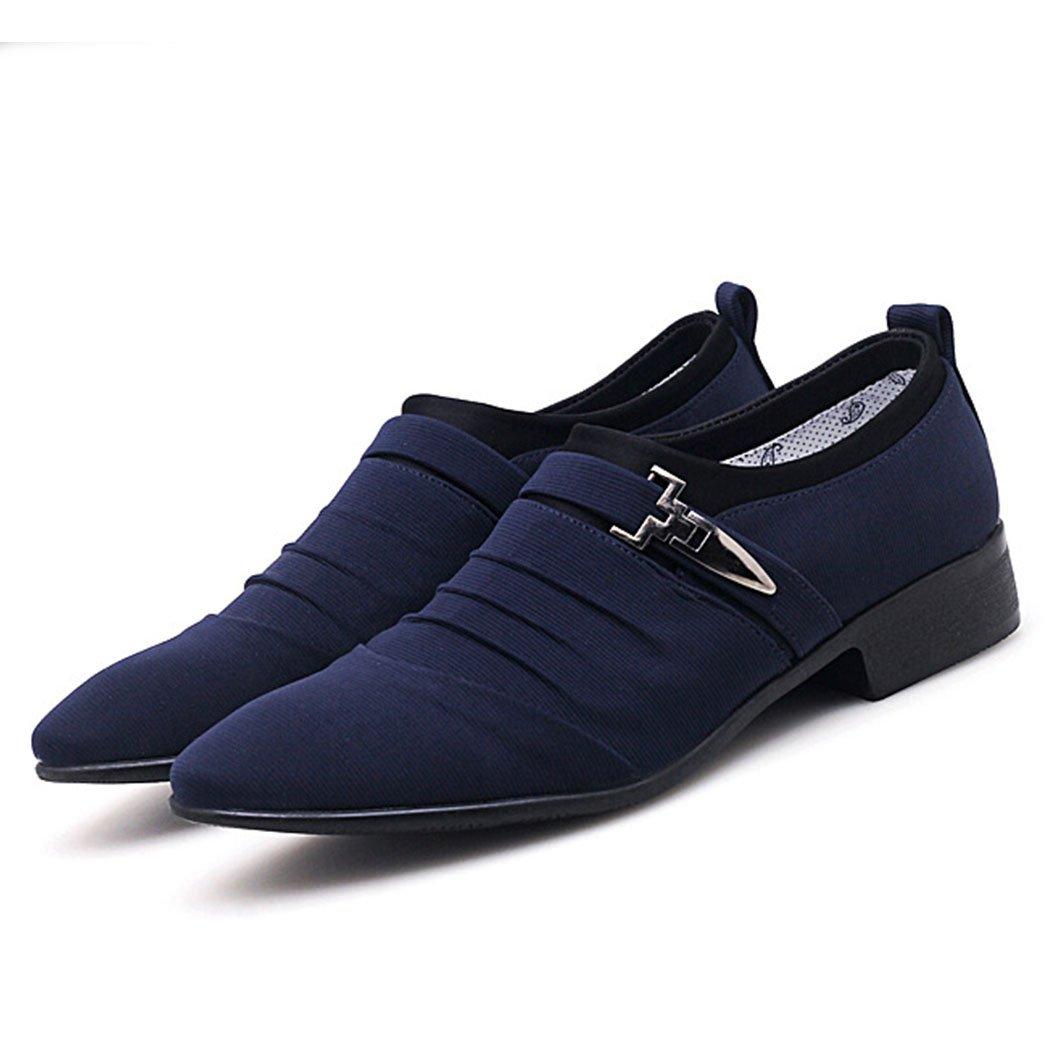 GAOLIXIA Zapatos Ocasionales de los Hombres de Negocios Mocasines Zapatos de Tela de Microfibra Zapatos de Trabajo Zapatos Ocasionales de Gran Tamaño 38-48 (Color : Azul, Tamaño : 44) 44|Azul
