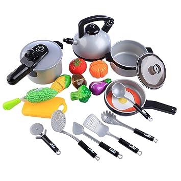 OviTop Küchenspielzeug 19er Set Küchenzubehör Spielzeug ...