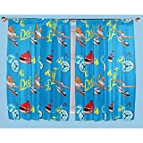 Disney Planes Childrens Fire & Rescue Pencil Pleat Curtain Set (66in x 72in) (Blue) For Sale