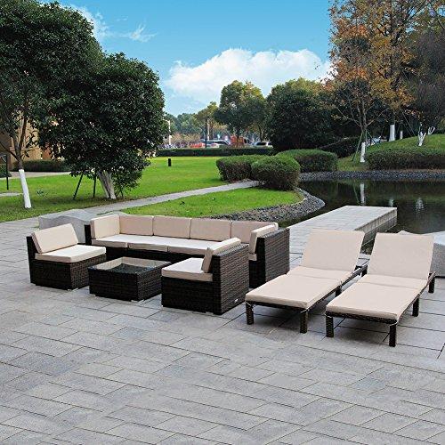 MAGIC UNION Outdoor Patio PE Rattan Wicker Cushion Furniture Patio Furniture 9 Pieces Sofa Set For Sale