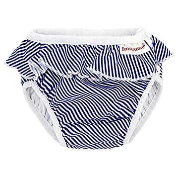 ImseVimse Culotte de bain, White/Blue Stripes Frill Blanc Bleu rayé avec volants