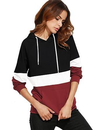4899e0918fd19d ROMWE Damen Farbblock Kapuzenshirt mit Kängurutasche Herbst Winter Shirt  Hoodie Schwarz XXL