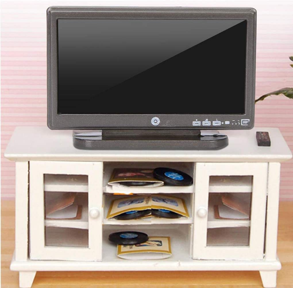F-blue 1:12 Doll House TV Remote Control Simulation Miniature Furniture Dollhouse Living Room Decoration Television