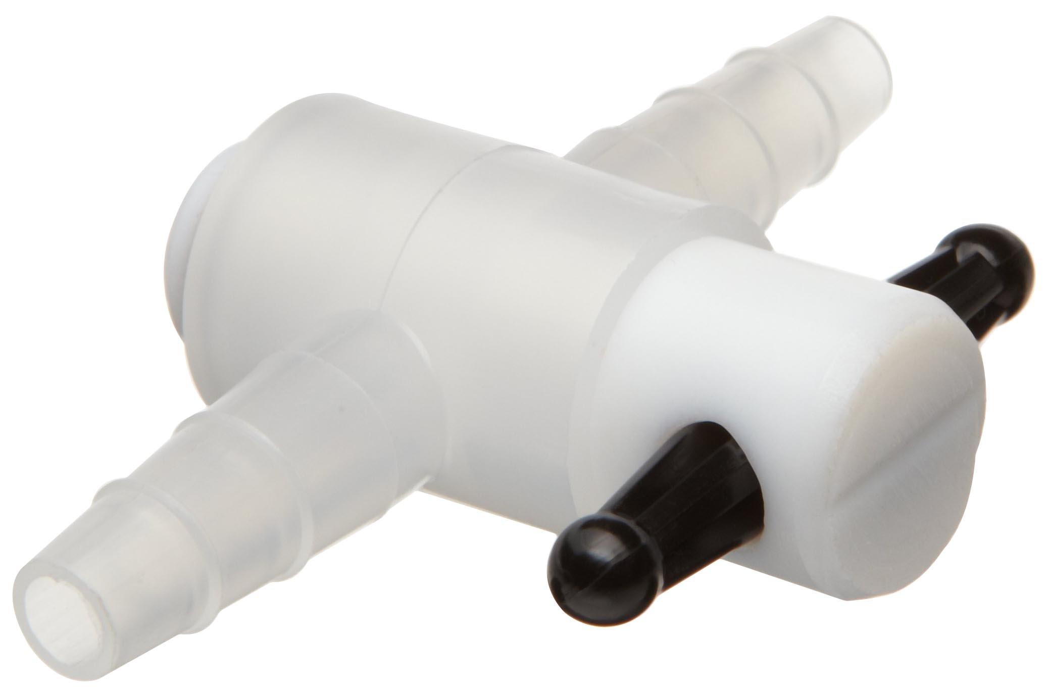 Nalgene 6470-0004 Polypropylene 3-Way Stopcock With PTFE TFE Plug, 1/4 - 5/16 Inch I.D. Autoclavable, 4mm bore