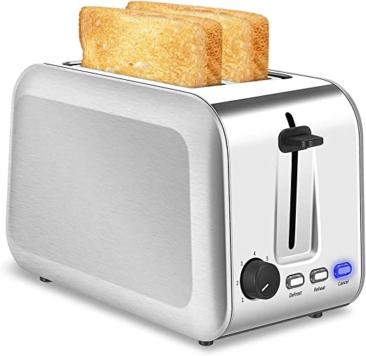 2 Slice Wide Slot Toaster Fast Quick Toast Reheat Defrost Crumb Tray Silver