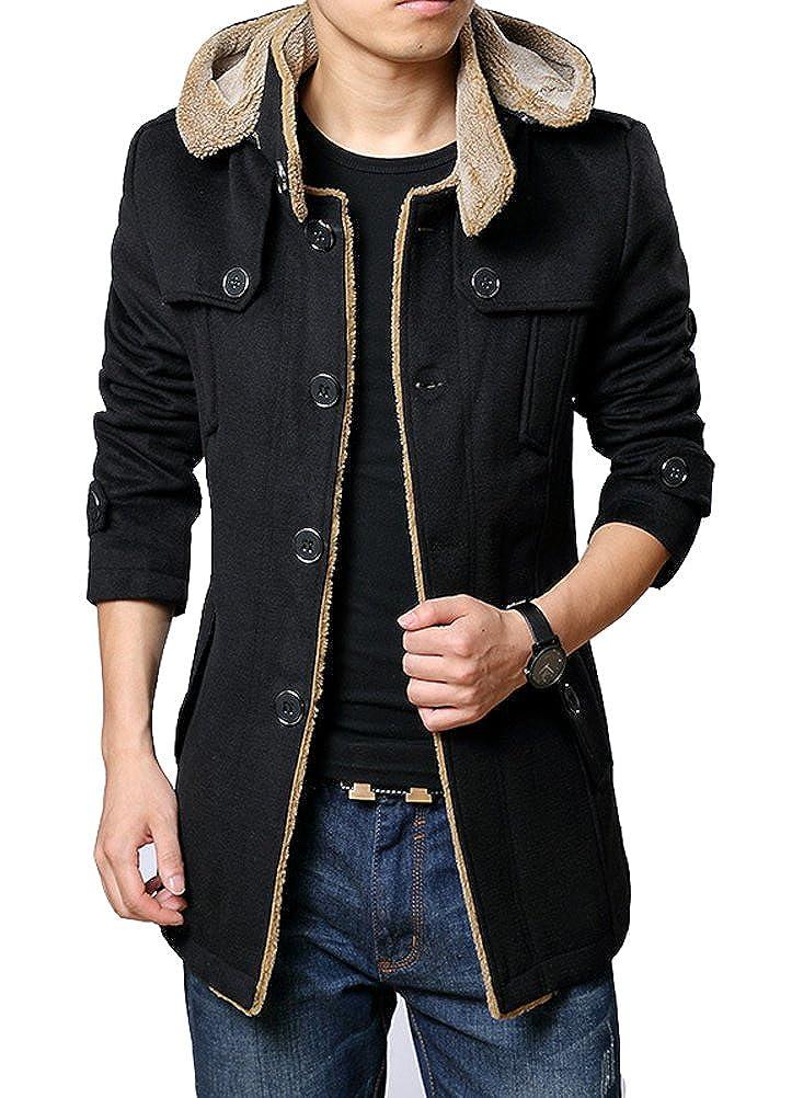 Brinny Abrigo casual para hombre con forro polar, Chaqueta parka, trenca cálida de invierno con capucha.