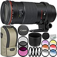 Canon EF 180mm f/3.5L Macro USM Lens 9PC Accessory Bundle - Includes 3PC Filter Kit (UV-CPL-FLD) + 4PC Macro Filter Set (+1,+2,+4,+10) + MORE - International Version (No Warranty)