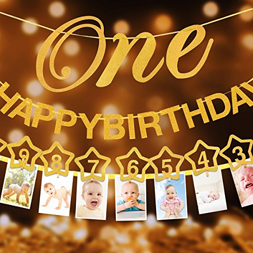 1st Birthday Glitter Decorations - Monthly Milestone Photo banner for Newborn to 12 months. Great for 1 Year old Celebration, 1-12 month Star Numbering Photography Garland, Baby Shower Gift