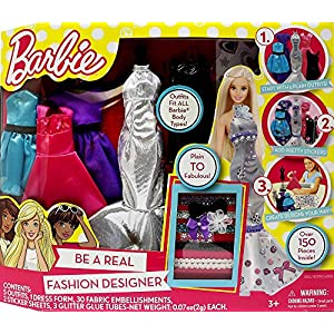 61jAqY3s43L. SS300  - Barbie Be a Fashion Designer Doll Dress Up Kit