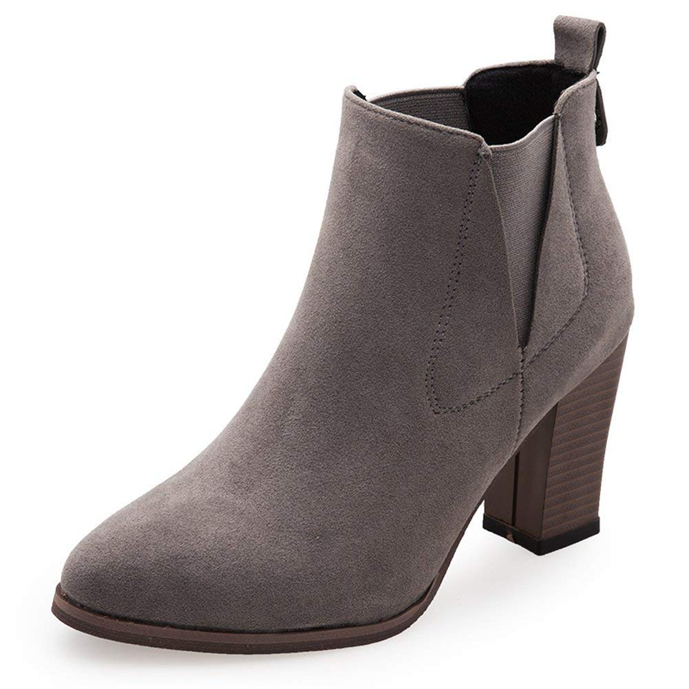 Womens and Ladys Winter Warm in Fashion Block Martin Boot Brown, Black, Grey