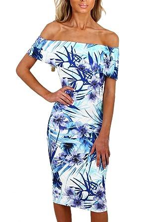 8b550968e0804 Happy Sailed Women Off Shoulder Floral Print Bodycon Midi Summer Dresses,  X-Large Light