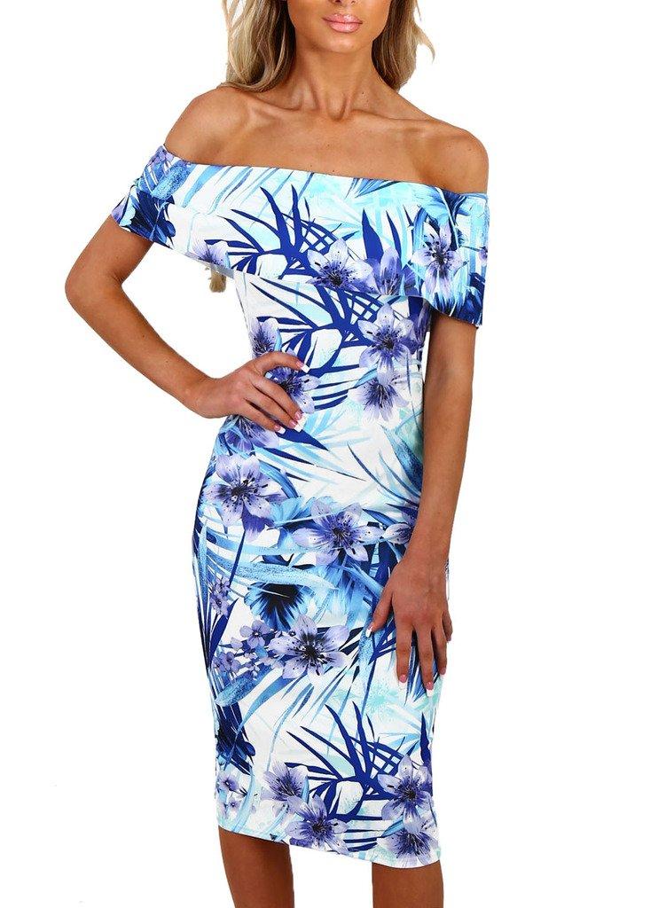 Happy Sailed Women Off Shoulder Floral Print Bodycon Midi Summer Dresses, Large Light Blue