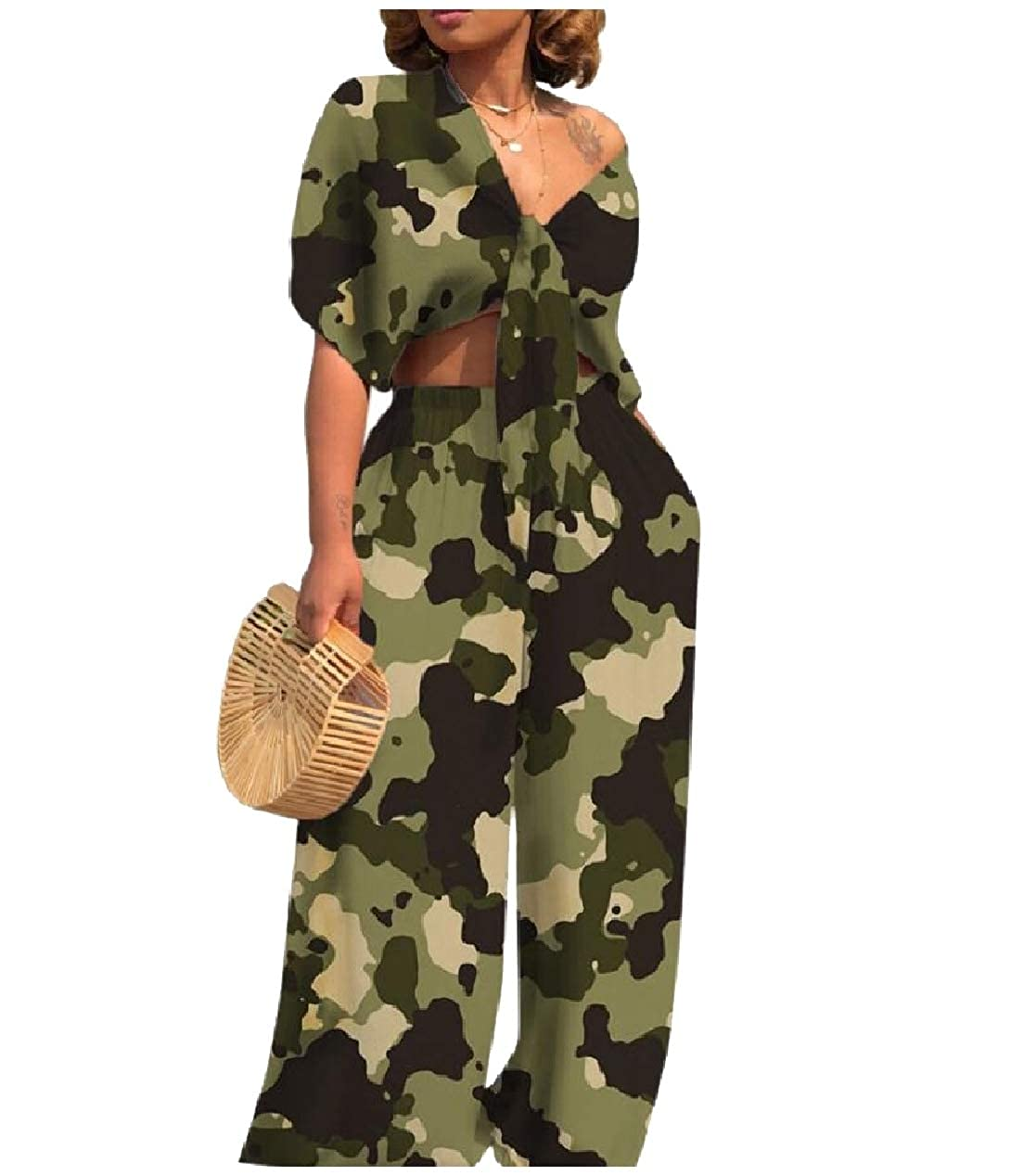 Whitive Womens V-Neck 2 Piece Knot Wide Leg Romper Jumpsuit Playsuit