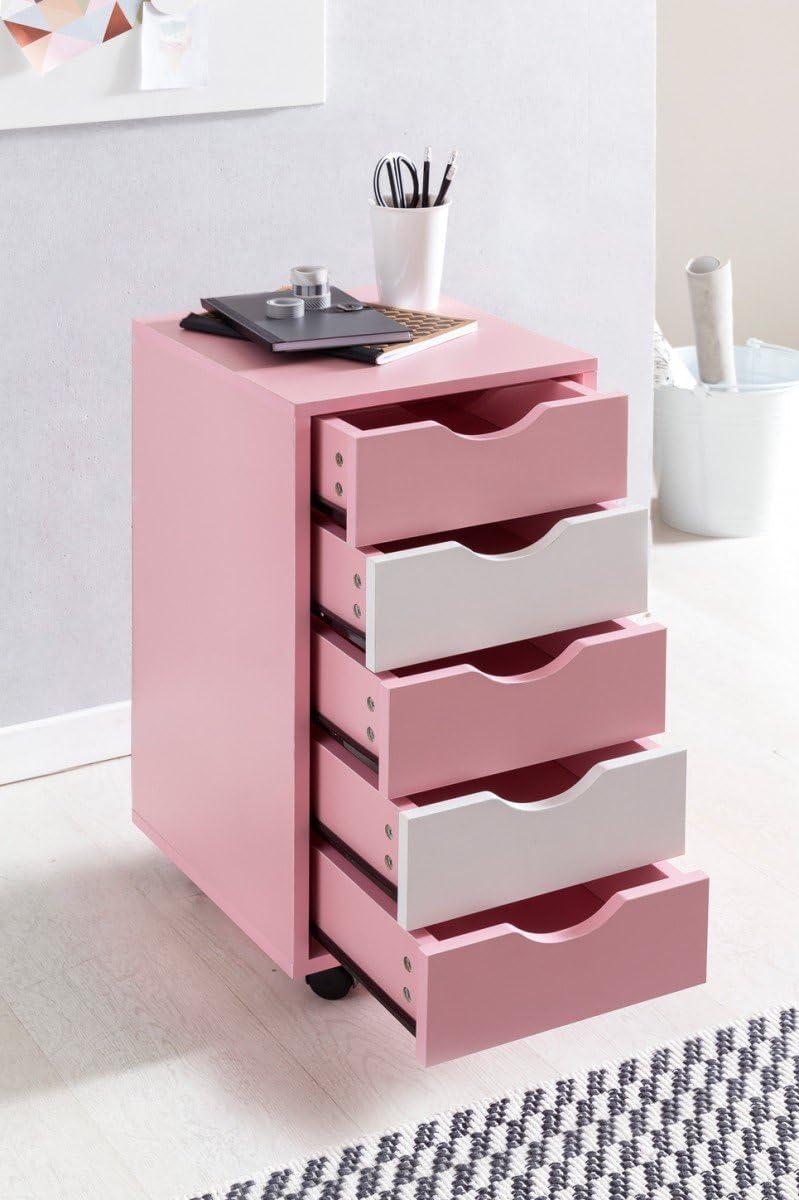 cassettiera Moderna con Ruote in Piedi Contenitore Moduli abitativi Rollcontainer Mina Legno 33x68x38cm MDF 5 cassetto Rosa//Bambini Bianchi
