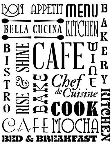 Kitchen Words Stencil By StudioR12 | Background Word Art   Medium 8.5 X  11 Inch