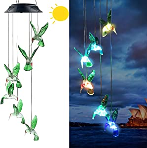 Hummingbird Solar Wind Chimes,Gift for Mom/Grandmo,Colors Changing Solar Night Lights, Garden Yard Lawn Patio Porch Window Outdoor Decorations