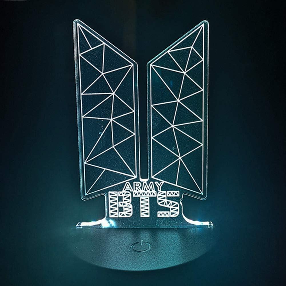 BTS Bulletproof Youth League Nachtlampe Tischlampe 7-Farben-LED Nachtlampe mit milit/ärischem Touch-Schalter