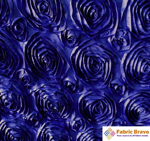 Royal Blue 54-Inch Wide Premium Satin Rosette Ribbon Fabric By the Yard