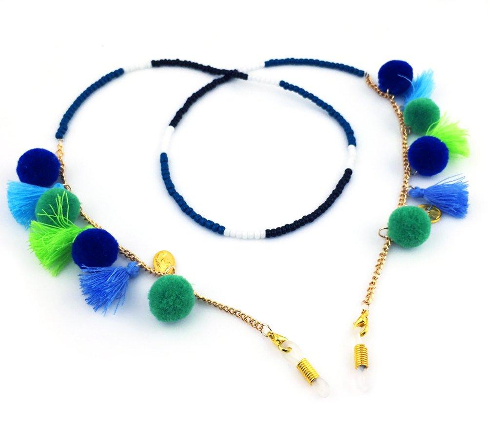 Boho Chic Handmade Eyeglass Holders, Eyeglass Chain, Eyeglass Lanyard (Choice of 3 Fashionable Colors) (Azure (Blue))