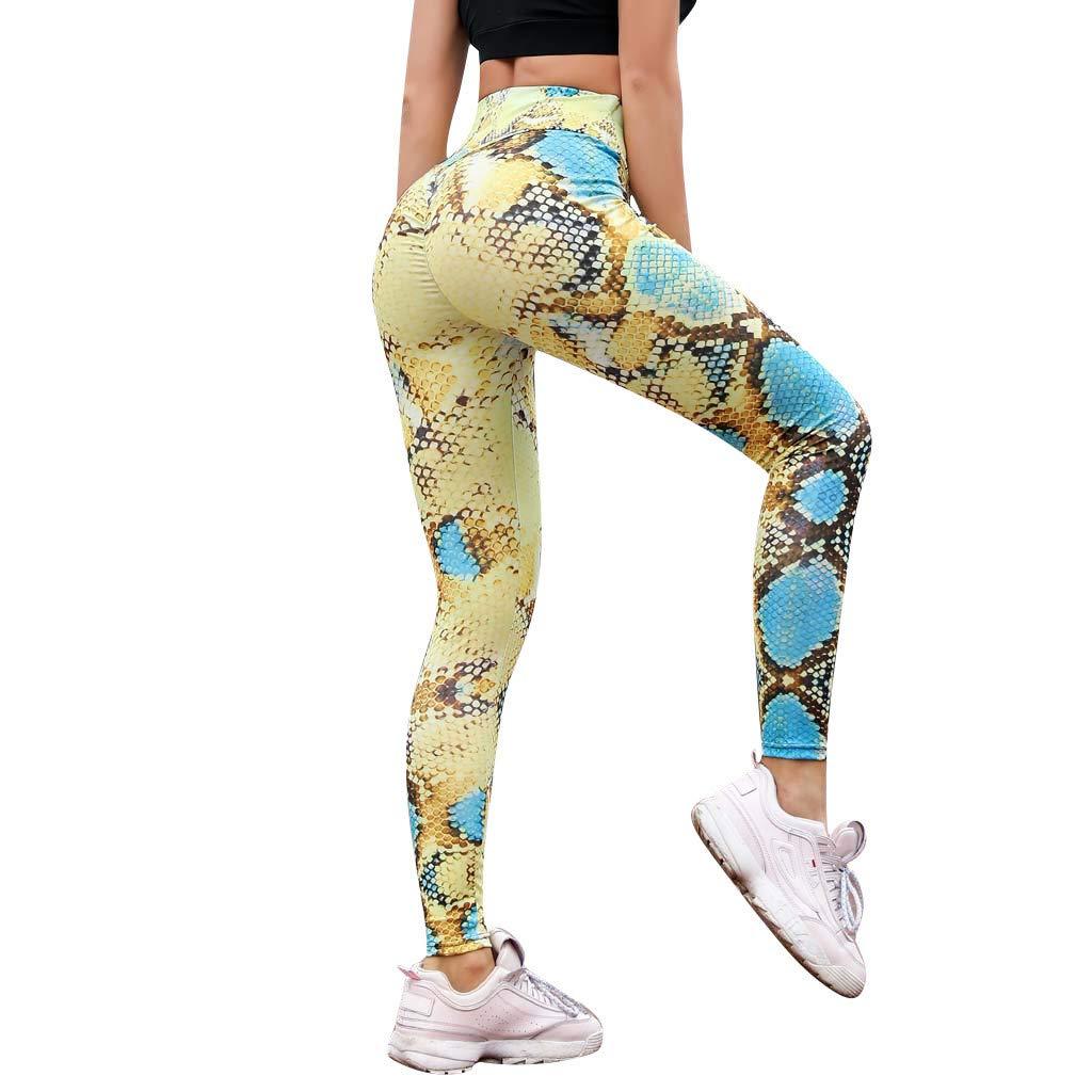 iNoDoZ Serpentine High Waist Leggings Serpentine Women Running Yoga Pants Mesh Leather Tummy Control Leggings