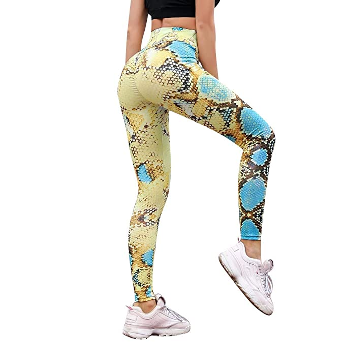 FELZ Leggins Mujer Push up Leotardos serpentinos de Cintura ...